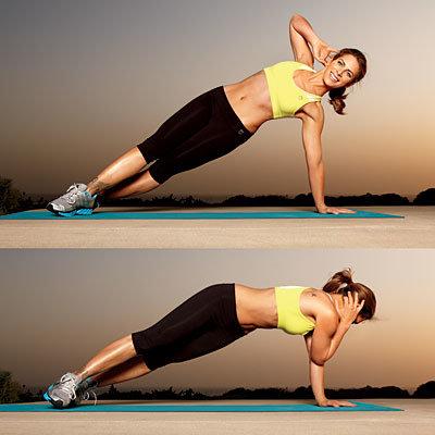 Side plank crunch